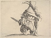 Small male figure in feathered hat with walking stick in left hand, from the series 'Varie figure gobbi'