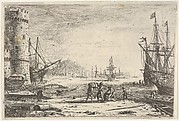 Harbor with large tower at left, and figures in the foreground