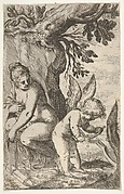 Cupid carves a wooden bow with a file, with his back turned toward Venus, who looks on from a seated position, from the series 'Sport of Love' (Scherzi d'amore)