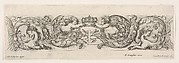 Design for a Frieze with Two Putti holding a crown over the letter, 'L' (for Louis XIV?), Plate 3 from: 'Decorative friezes and foliage' (Ornamenti di fregi e fogliami)