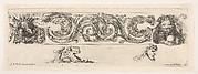 Design for a Frieze with Acanthus Scrolls and Two Small Figural Motifs Below, Plate 15 from: 'Decorative friezes and foliage' (Ornamenti di fregi e fogliami)