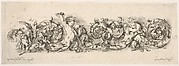 Design for a Frieze with Acanthus Scrolls and Playing Putti and Dogs, Plate 12 from:  'Decorative friezes and foliage' (Ornamenti di fregi e fogliami)