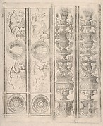 Sheet of border segments: two candelabra and two horizontal pieces with putti, two corners, from Life of the Virgin and Christ