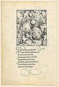 Theuerdarnk Endangered by an Avalanche, from [Theuerdank] Die geuerlicheiten vnd einsteils der geschichten des loblichen streytparen vnd hochberümbten helds vnd Ritters herr Tewrdannckhs