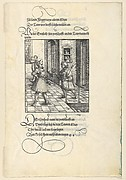 Ehrenhold Delivering Ehrenreich's Message to Theuerdank, from [Theuerdank] Die geuerlicheiten vnd einsteils der geschichten des loblichen streytparen vnd hochberümbten helds vnd Ritters herr Tewrdannckhs