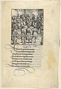 Three Captains Brought Up for Judgment, from [Theuerdank] Die geuerlicheiten vnd einsteils der geschichten des loblichen streytparen vnd hochberümbten helds vnd Ritters herr Tewrdannckhs