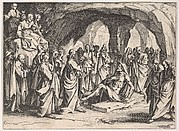 The Resurrection of Lazarus (La Resurrection de Lazare), set in a cave, from the series 'The New Testament' (Le Nouveau Testament)