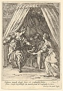 Judith placing the head of Holofernes on a tray held by an attendant, with the body of Holofernes on a canopied bed