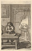An artist in his studio grinding pigments on a table to left, an easel with a landscape painting to right, from 'Different ways to draw and paint' (Différentes manières de dessiner et de peindre)