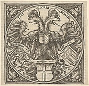 Imperial Double Eagle with the Coat of Arms of Ingolstadt, Freiburg, and Tübingen, from Joan. Eckii Theologi in summulas Petri Hispani extemporaria et succincta atque succosa explanatio p[ro] sup[er] ioris Germaniae scholasticis