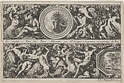 Two Designs for Friezes with Medallions, from: Frises, feuillages ou tritons marins antiques et modernes