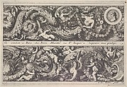 Two Designs for Friezes, of which one with a Round Portrait Medaillon, from: Frises, feuillages ou tritons marins antiques et modernes