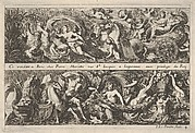 Two Designs for Frieze Decorations with Sea Creatures, of which one with Neptune and Amphitrite, from: Frises, feuillages ou tritons marins antiques et modernes