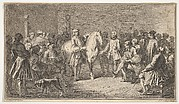 Standing men presenting a horse before a group of seated men