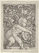 Vertical Panel with Cupid Holding the End of a Plant Sprouting Tendrils