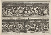 Two decorates Frieze Designs for Cornices, from: Frise pour les architraves, corniches et autres ornaments d'architecture
