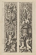 Two Designs for Panels with Candelabra Decorations, from: Montants d'ornement