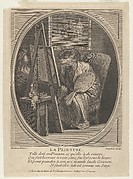 Painting (La Peinture): a monkey seated at an easel, dressed in a robe and beret and holding a painter's palette, a framed painting hanging on the wall beyond