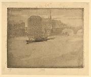 Evening Harbor Scene with Bridge (Mist on the Thames)