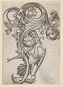 Leaf-ornament with a Heron