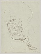 A Seated Italian Shepherd with a Small Child on his lap; verso: A Southern Landscape with a Woman Carrying a Jar on her Head