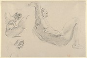 Studies of a Fallen Male Nude for 'Hercules and the Horses of Diomedes'