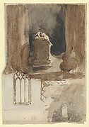 The Abbey at Valmont:  A Tomb and Studies of Windows (recto); Four Studies of Horses (verso)