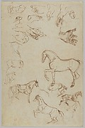 Nineteen Studies of Horses, Hands, and Feet (r.); Studies of Heads and Figures (v.)
