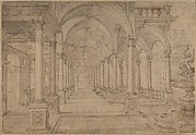 Architectural Capriccio with an Arcade and Fountain in Point Perspective [Study for a Painting of John the Baptist before Herod]