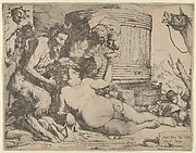 Drunken Silenus holding a cup aloft, into which a Satyr pours wine