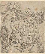 A Triton family: the naked mother holding the hand of a child is seated on the back of the half-man half-sea monster who carries a child blowing on a conch shell, a townscape in the background