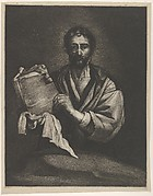 A Philosopher, looking forward, holding a book with a cloth
