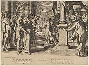 Susanna before Daniel, from Thronus Justitiae, tredecim pulcherrimus tabulis..., plate 3