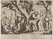 The Meeting of Moses and Jethro, from Thronus Justitiae, tredecim pulcherrimus tabulis..., plate 1