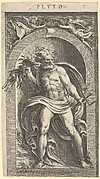Neptune standing in a niche holding a trident in his left hand, foliage in his right