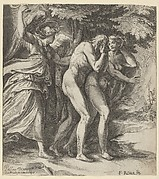 The Expulsion from Paradise with an Angel wielding a sword behind Adam and Eve