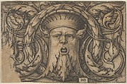 Horizontal Panel with a Bearded Amascaron in a Medallion at Center Surrounded by Tendrils