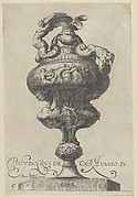 Plate 6: Vase surrounded by nude figures, which is supported by two sirens, from Antique Vases