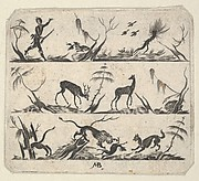 Blackwork Design for Goldsmithwork with a Hunter and Animals