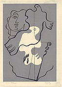 Abstract composition with a head and bird-like forms from portfolio 'Motivos'