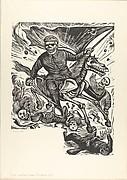 Skeleton on horseback trampling skeletons beneath him