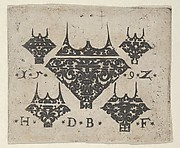 Blackwork Print with a Large Bezel Design at Center Surrounded by Four Smaller Fillets