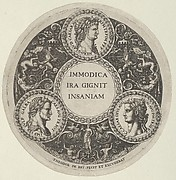 Design for a Dish with Portraits of the Roman Emperors Nero, Galba, and Caligula
