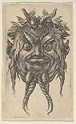 Satyr Mask with Horns and a Twisted Beard Wearing an Ivy Wreath, from Divers Masques