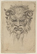 Satyr Mask with Curled Horns Looking Down, from Divers Masques