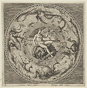 Design for a Plate with Thetis on a Shell in a Medallion Bordered by Sea Monsters