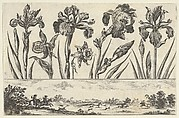 Horizontal Panel with a Row of Flowers Above a Frieze with a Hunting Scene in a Landscape, from Livre Nouveau de Fleurs Tres-Util