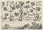 Horizontal Panel with a Row of Flowers Above a Frieze with Figures in a Landscape, from Livre Nouveau de Fleurs Tres-Util