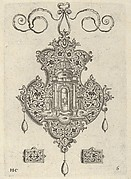 Pendant Design with Niche and a Vase with Two Handles Above Rectangular Ornaments