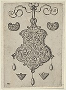 Design for the Verso of a Pendant with a Flower-Piece at Bottom Center